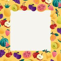 marco cuadrado transparente de frutas de verano divertido