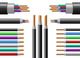 Conjunto de ilustración de diseño de vector de alambre de cobre aislado sobre fondo blanco