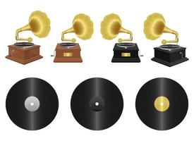 Realistic gramophone vector design illustration set isolated on white background