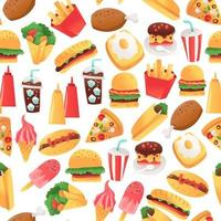super divertido, comida rápida, seamless, patrón, plano de fondo vector