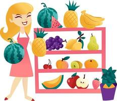 mujer de dibujos animados divertido estante de frutas vector