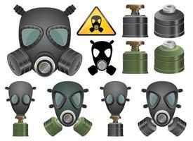 Conjunto de ilustración de diseño de vector de máscara de gas aislado sobre fondo blanco