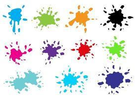 Paint splashes vector design illustration set isolated on white background
