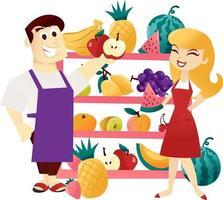 tenderos de estantería de frutas de dibujos animados vector