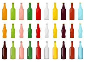 Conjunto de ilustración de diseño de vector de botella de vidrio aislado sobre fondo blanco