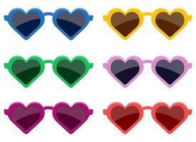 Stylish heart glasses vector design illustration set isolated on white background