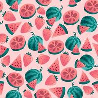 Fun Tropical Fruits Seamless Pattern Background vector