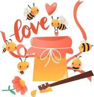 abejas de dibujos animados super lindos alrededor de tarro de miel vector