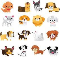 conjunto de cachorros de dibujos animados super lindos vector