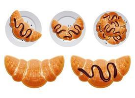 Conjunto de ilustración de diseño de vector de croissant francés tradicional aislado sobre fondo blanco