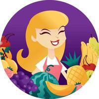 dibujos animados mujer diversión frutas marco redondo vector