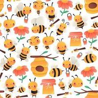 Super Cute Cartoon Honey Bees Seamless Pattern Background vector
