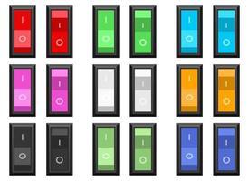 Conjunto de ilustración de diseño de vector de interruptor de encendido y apagado aislado sobre fondo blanco