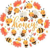 super lindo dibujos animados abejas de miel decoración redonda vector