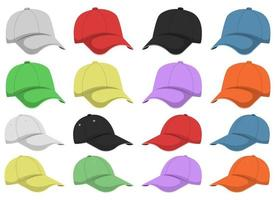 Cap vector design illustration set isolated on white background