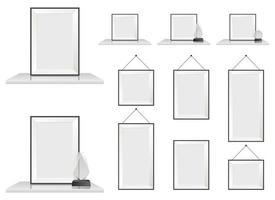 Realistic photo frame vector design illustration set isolated on white background
