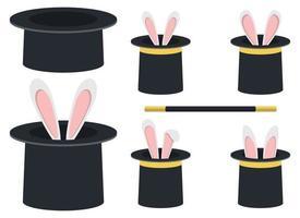 Magic hat with rabbit vector design illustration set isolated on white background