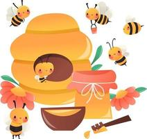 olla de colmena de abejas de miel de dibujos animados super lindo vector