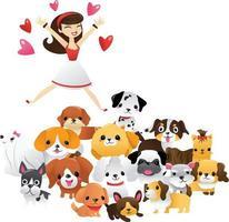 mujer de dibujos animados saltando a un grupo de cachorros lindos vector