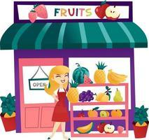 tienda de frutas de dibujos animados con tendero vector