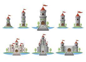 Conjunto de ilustración de diseño de vector de castillo medieval aislado sobre fondo blanco