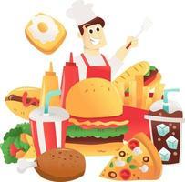 chef de dibujos animados y un montón de comida rápida divertida vector