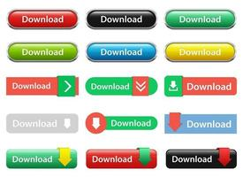 Download button vector design illustration set isolated on white background