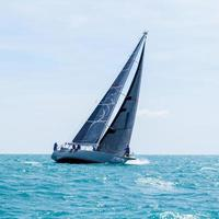 Chaweng Beach, Thailand, May 25, 2019 - Blue sailboat racing in the water