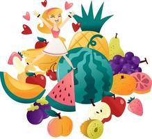 mujer de dibujos animados saltando a un montón de frutas divertidas