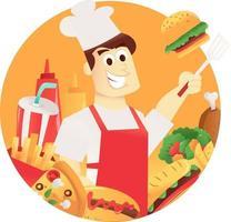 chef de dibujos animados marco redondo de comida rápida vector