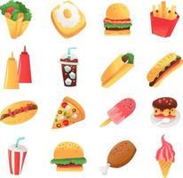 set de comida rápida super divertido vector