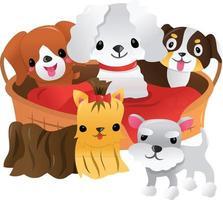 dibujos animados de cinco cachorros alrededor de la cama del animal doméstico vector