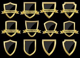 Protection shield vector design illustration set isolated on background