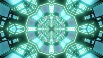 Green and white 3D tunnel kaleidoscope design illustration for background or wallpaper photo