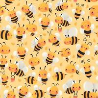 Super Cute Cartoon Busy Bees Seamless Pattern Background vector