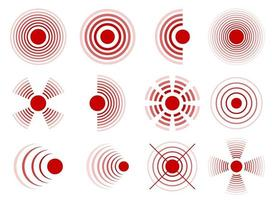 Círculos de dolor conjunto de ilustraciones de diseño vectorial aislado sobre fondo blanco. vector