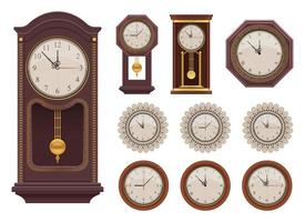 Vintage wall clock vector design illustration set isolated on white background