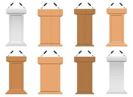Realistic pulpit vector design illustration set isolated on white background