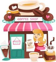 Cartoon Coffee Shop With Storekeeper At the Window vector