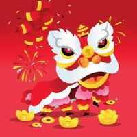 Super Cute Chinese New Year Lion Dance vector