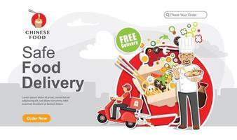 página de inicio de pedido de entrega segura de alimentos vector