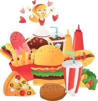 mujer de dibujos animados saltando a un montón de comida rápida vector