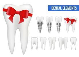 Conjunto de ilustración de diseño de vector de diente aislado sobre fondo blanco