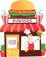 Cartoon Burger Shop With Chef At the Window vector