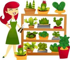 estante de jardinería de mujer de dibujos animados vector