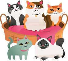 dibujos animados de cinco gatos alrededor de la cama del animal doméstico vector