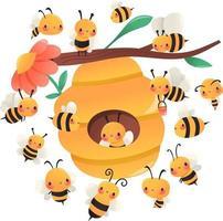 abejas de dibujos animados super lindos alrededor de la colmena vector