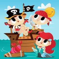 Super Cute Pirate Mermaid Ship Adventure vector