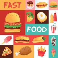 mosaico sin costuras de comida rápida súper divertido vector