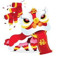 Super Cute Chinese New Year Lion Dance Prosperity Scroll vector